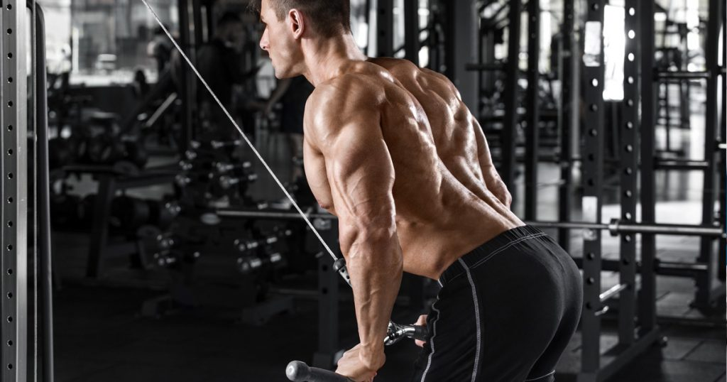 Bodybuilder im Fitness-Studio, Überzüge im Rückentraining.