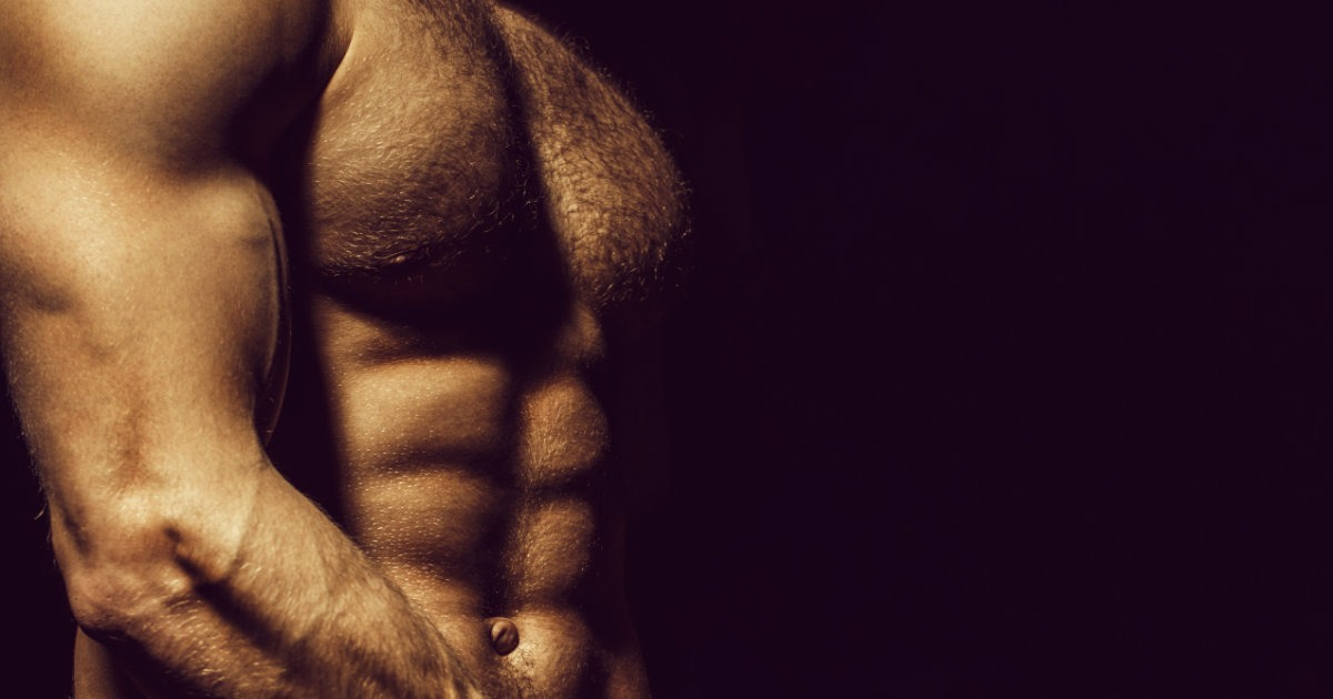 Bodybuilder mit einem Körperfett-Anteil von circa 15 Prozent