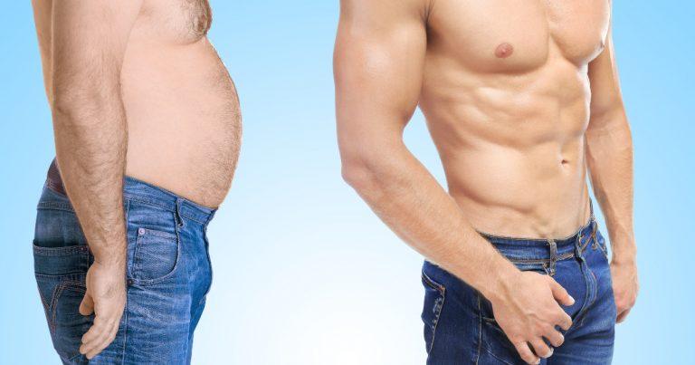 Mann vor und nach Fettabbau mit gleichzeitigem Muskelaufbau